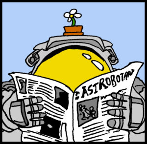 an astronaut reads an astrobotany newspaper